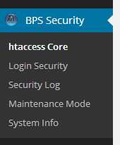 BulletProof Security Network Primary Menu