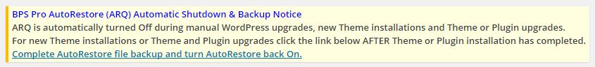 AutoRestore (ARQ) Automatic Shutdown & Backup Notice