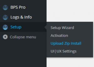 BPS Pro Upload Zip Install menu