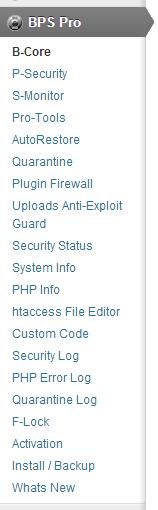 BulletProof Security Pro Menu