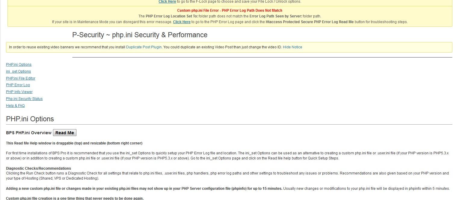 Topic: Plugin Firewall – BPS menu tabs not displaying