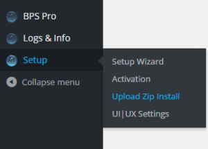 BPS Pro Upload Zip Install menu