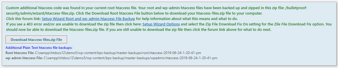 Setup Wizard Root htaccess File Backup